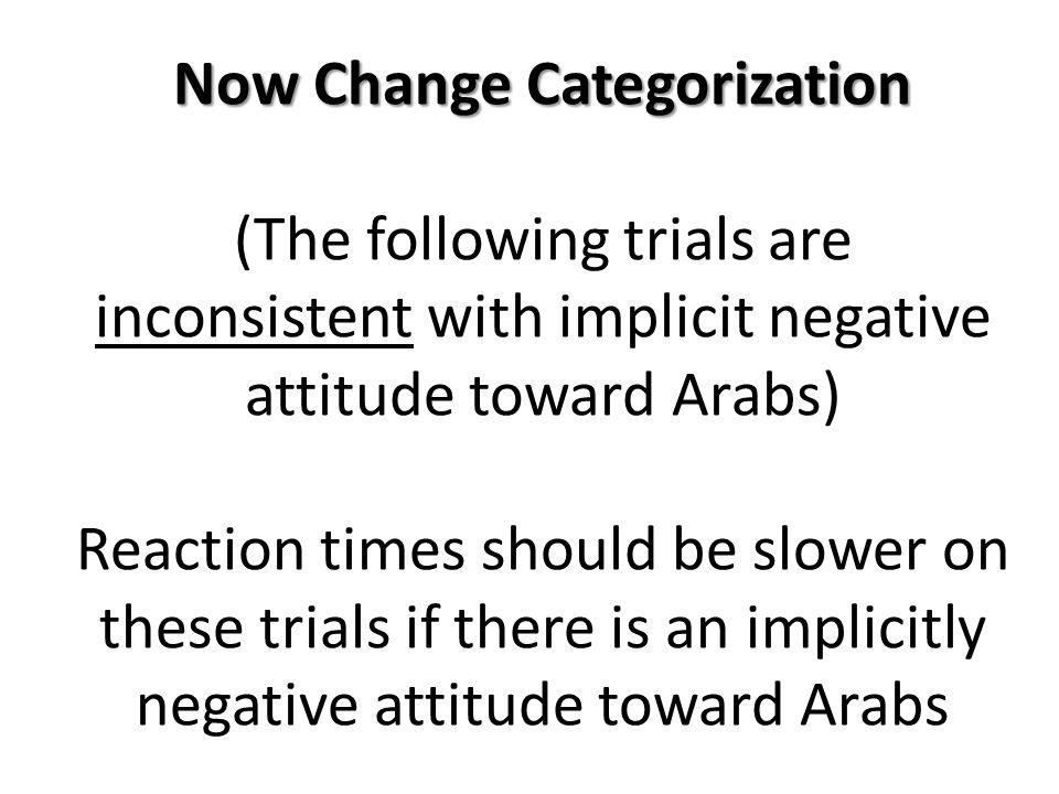 Now Change Categorization Now Change Categorization (The following trials are inconsistent with implicit negative attitude toward Arabs) Reaction times should be slower on these trials if there is an implicitly negative attitude toward Arabs
