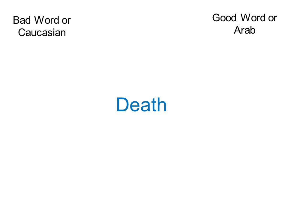 Bad Word or Caucasian Good Word or Arab Death