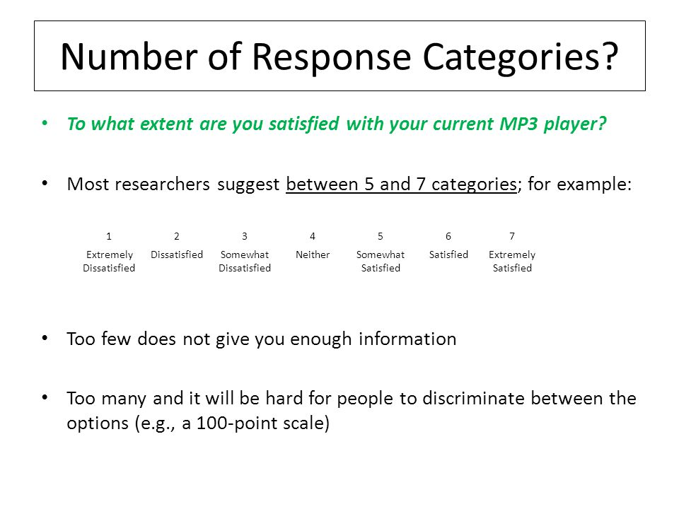 Number of Response Categories.To what extent are you satisfied with your current MP3 player.