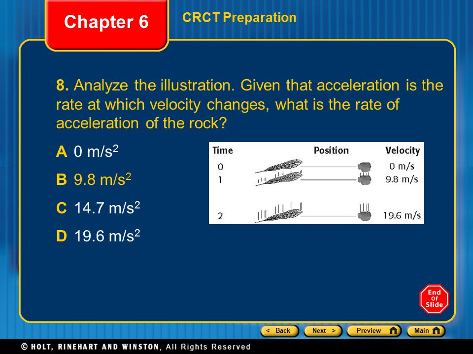 < BackNext >PreviewMain Chapter 6 CRCT Preparation 8.Analyze the illustration.