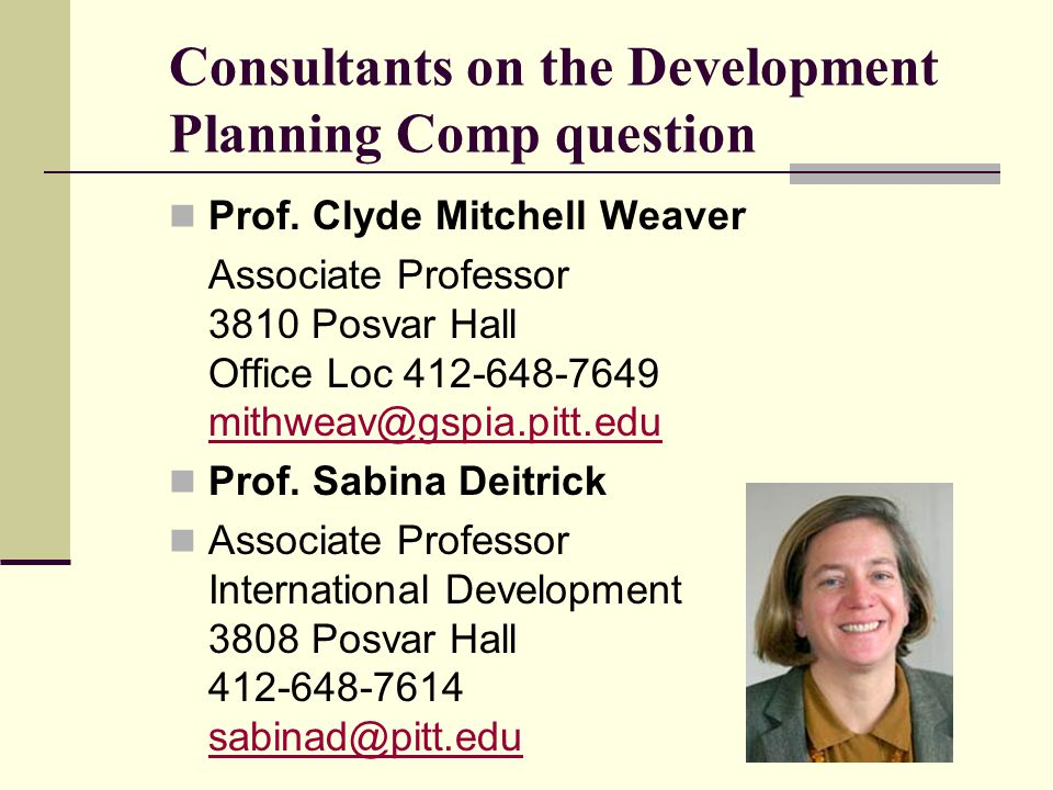 Consultants on the Development Planning Comp question Prof.