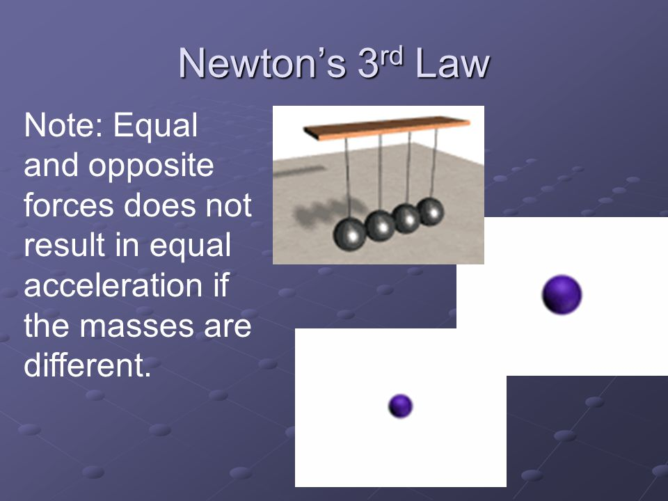 Newton's 3 rd Law For every action there is and equal and opposite reaction A bird pushes down on the air and the air pushes up on the bird