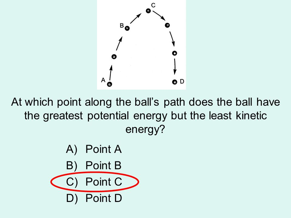 At which point along the ball's path does the ball have the greatest potential energy but the least kinetic energy? A)Point A B)Point B C)Point C D)Po