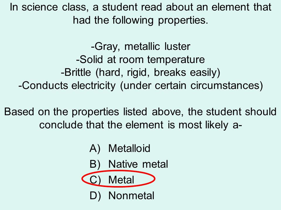 In science class, a student read about an element that had the following properties.