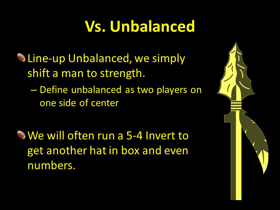 Vs. Unbalanced Line-up Unbalanced, we simply shift a man to strength.