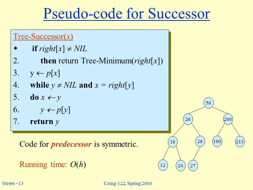 btrees - 13 Comp 122, Spring 2004 Pseudo-code for Successor Tree-Successor(x)  if right[x]  NIL 2.