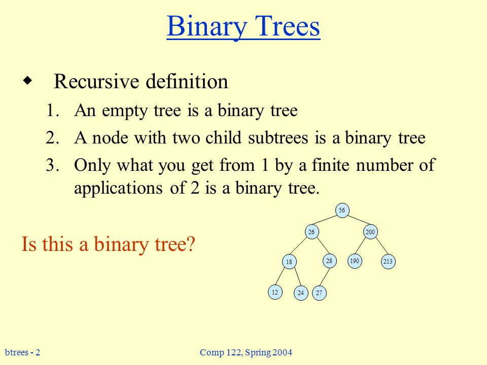 btrees - 2 Comp 122, Spring 2004 Binary Trees  Recursive definition 1.An empty tree is a binary tree 2.A node with two child subtrees is a binary tree 3.Only what you get from 1 by a finite number of applications of 2 is a binary tree.
