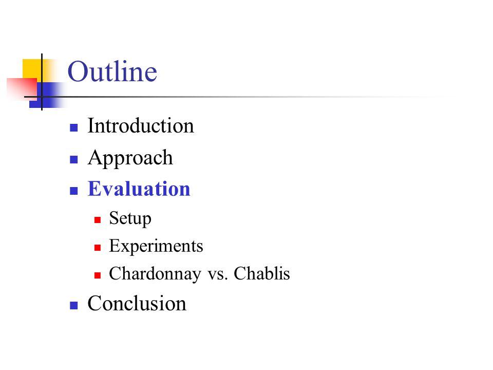 Outline Introduction Approach Evaluation Setup Experiments Chardonnay vs. Chablis Conclusion