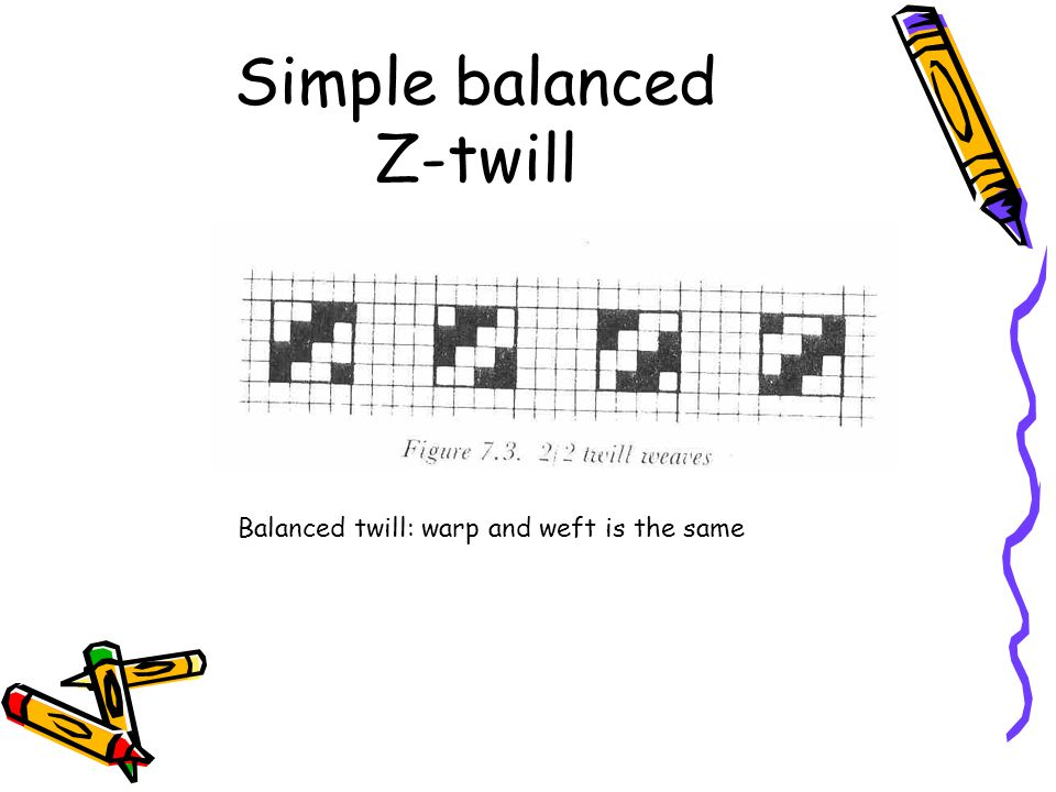 Simple balanced Z-twill Balanced twill: warp and weft is the same