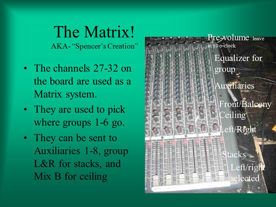 The Matrix. AKA- Spencer's Creation The channels 27-32 on the board are used as a Matrix system.