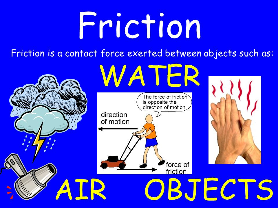 Friction Friction is a contact force exerted between objects such as: AIROBJECTS WATER
