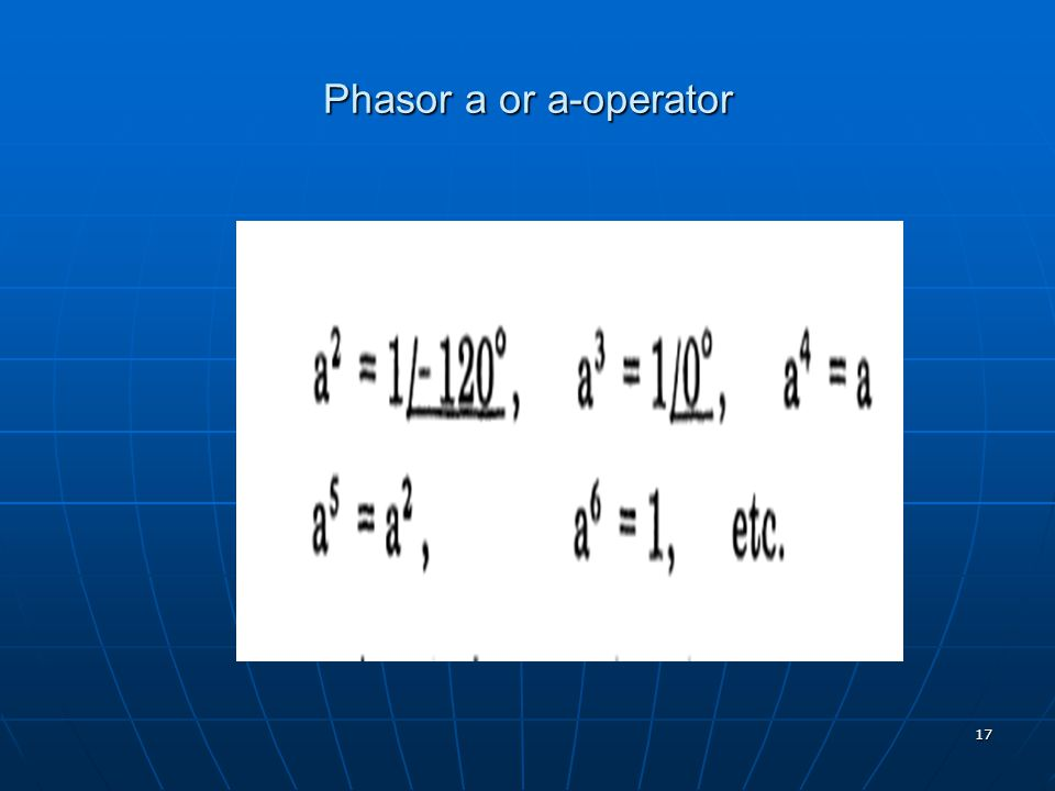 17 Phasor a or a-operator