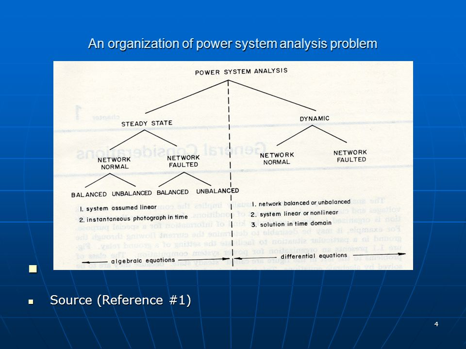 4 An organization of power system analysis problem Source (Reference #1) Source (Reference #1)