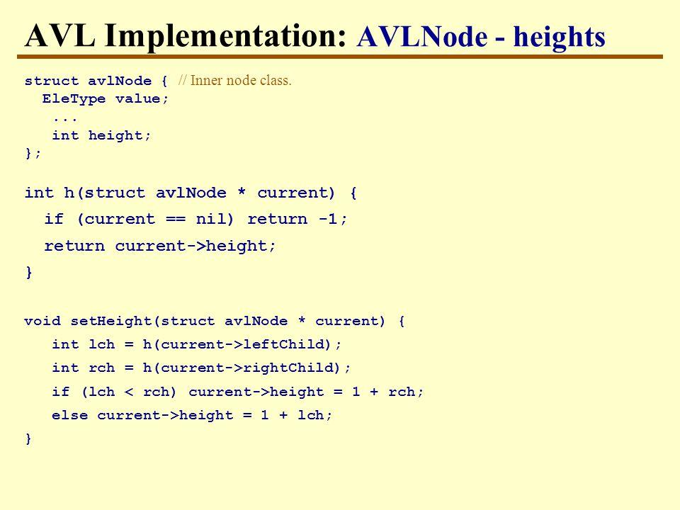 AVL Implementation: AVLNode - heights struct avlNode { // Inner node class.