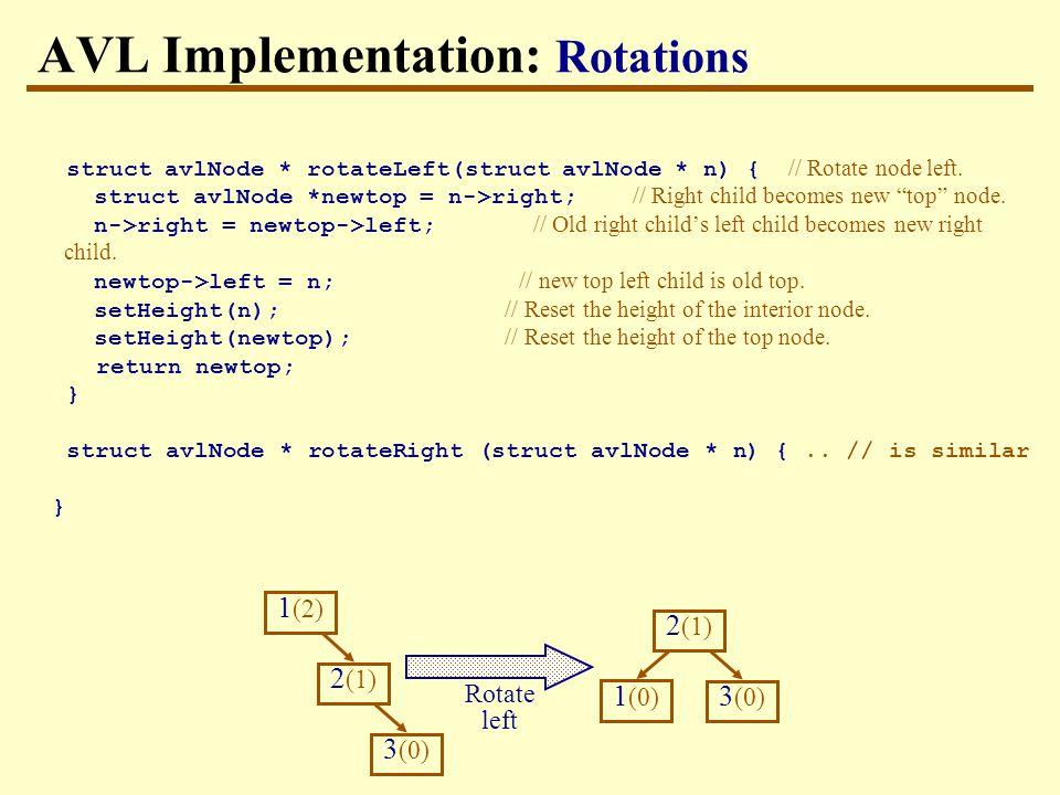 AVL Implementation: Rotations struct avlNode * rotateLeft(struct avlNode * n) { // Rotate node left.