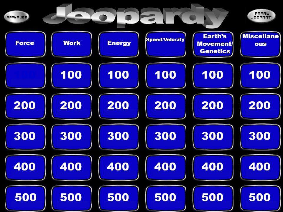 100 200 300 400 500 ForceWorkEnergy Speed/Velocity Earth's Movement/ Genetics Miscellane ous