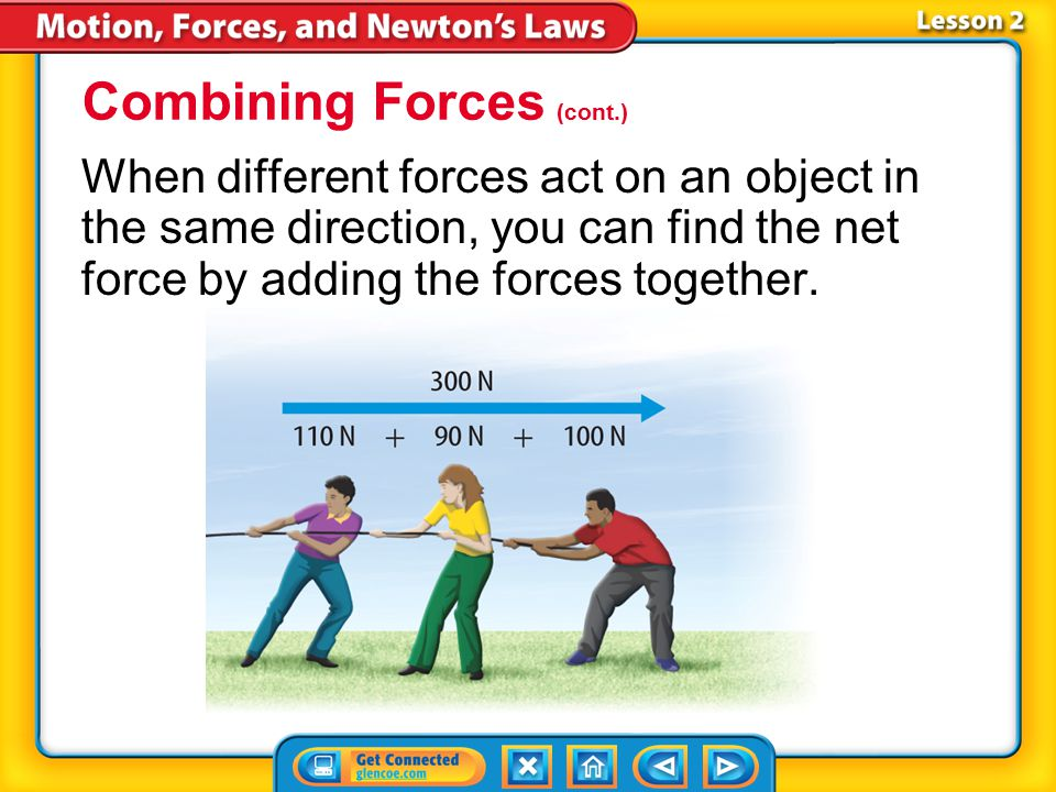 Lesson 2-5 When several forces act on an object, the forces combine to act as a single force. The sum of the forces acting on an object is called the