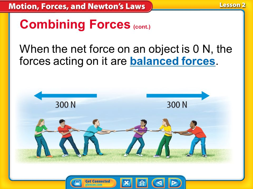 Lesson 2-5 When forces act in opposite directions, you must include the direction of the force when you add them. Combining Forces (cont.)