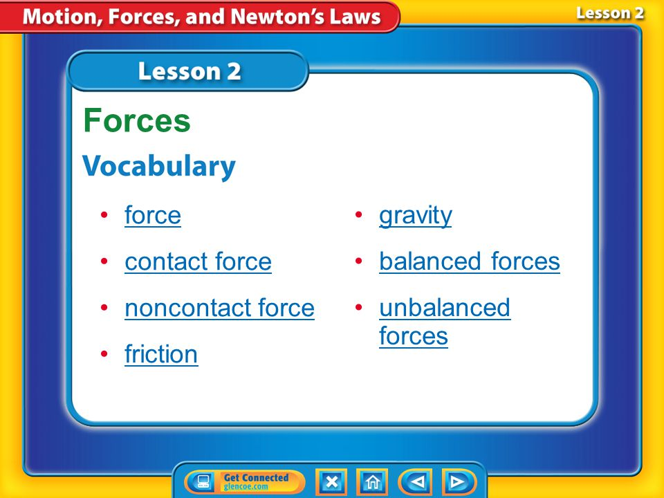 Lesson 2-5 When several forces act on an object, the forces combine to act as a single force.
