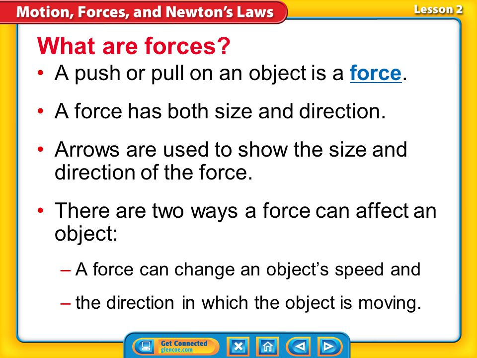 Lesson 2-1 A push or pull on an object is a force.force A force has both size and direction.