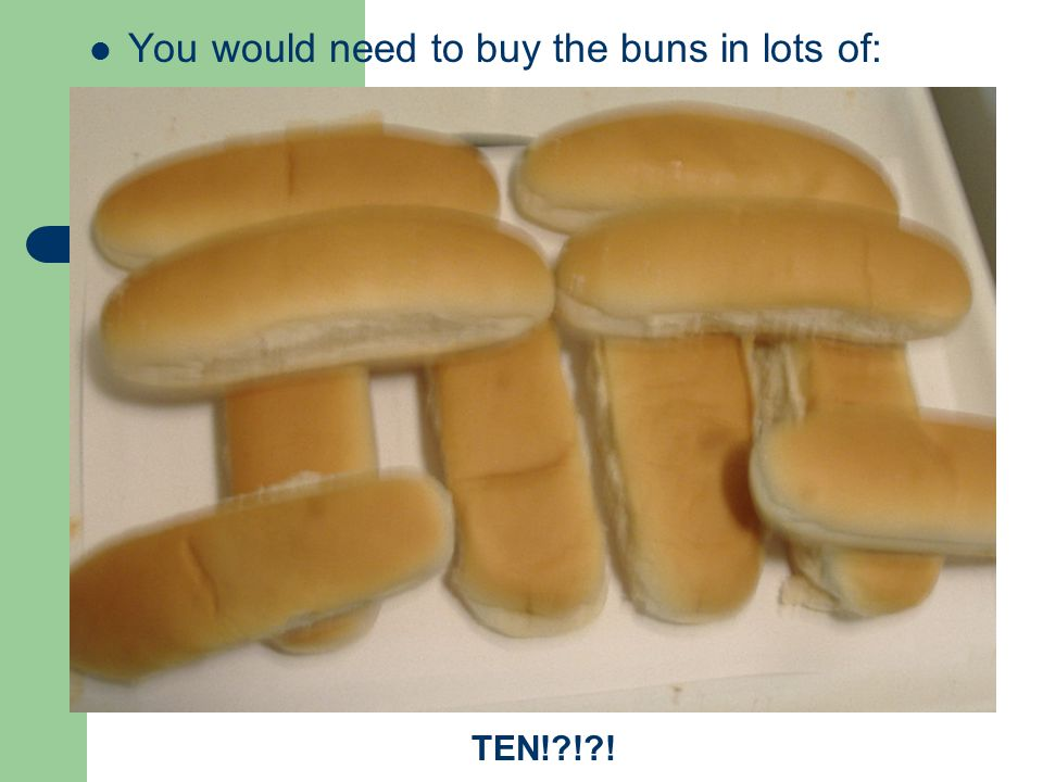 You would need to buy the buns in lots of: TEN! ! !