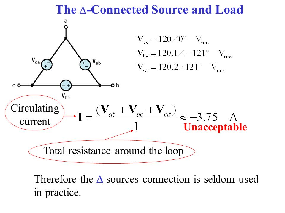The  -Connected Source and Load Total resistance around the loop Circulating current Unacceptable Therefore the  sources connection is seldom used in practice.