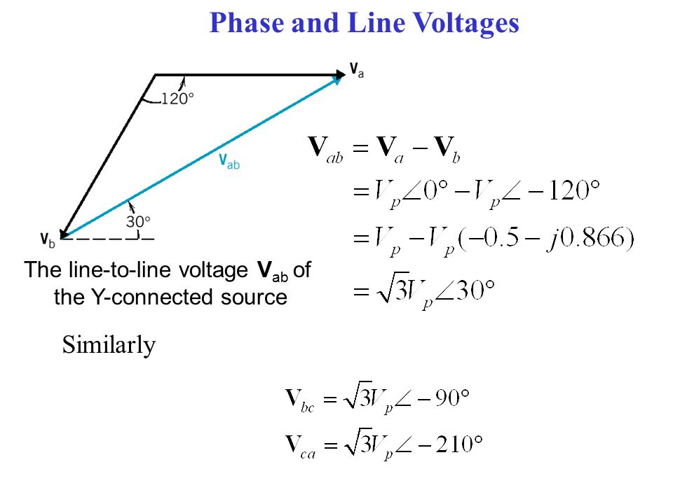 Phase and Line Voltages The line-to-line voltage V ab of the Y-connected source Similarly