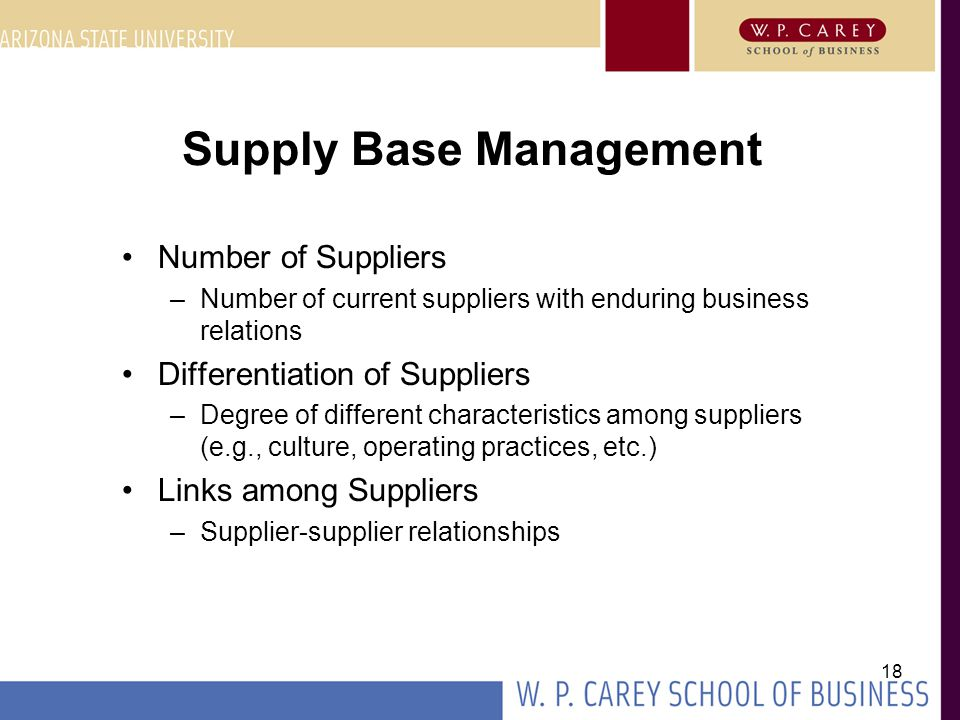 18 Supply Base Management Number of Suppliers –Number of current suppliers with enduring business relations Differentiation of Suppliers –Degree of di