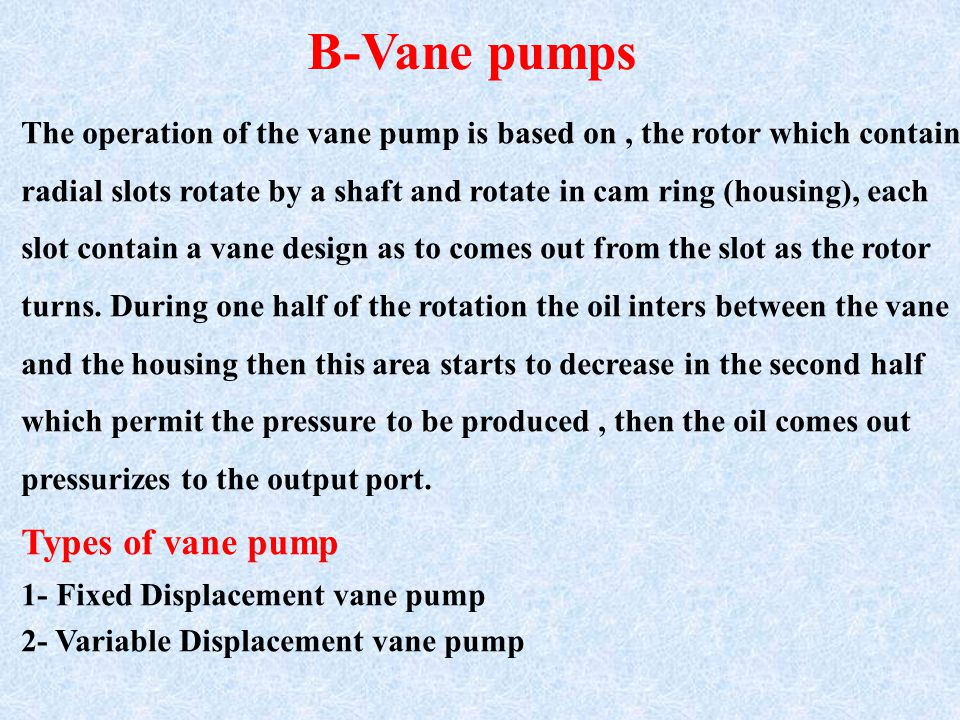 The operation of the vane pump is based on, the rotor which contain radial slots rotate by a shaft and rotate in cam ring (housing), each slot contain a vane design as to comes out from the slot as the rotor turns.