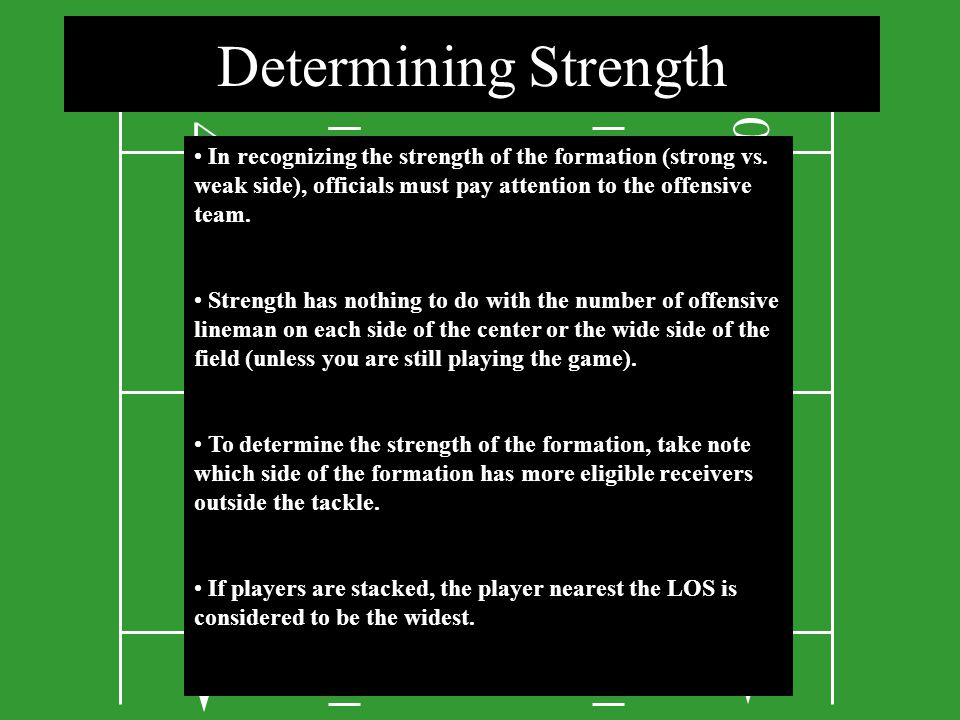3 4 0 00 0 4 3 2 0 2 0 In recognizing the strength of the formation (strong vs. weak side), officials must pay attention to the offensive team. Streng
