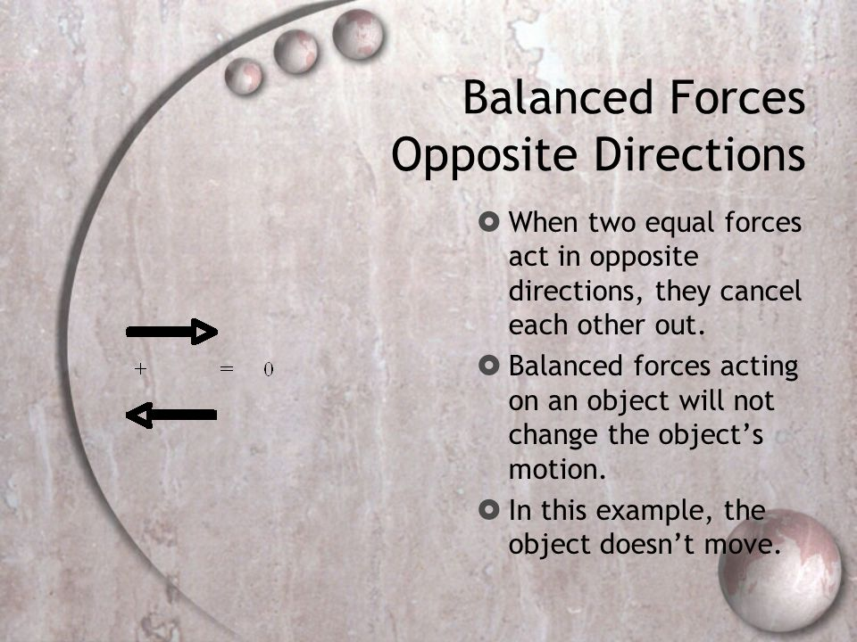 Balanced Forces Opposite Directions  When two equal forces act in opposite directions, they cancel each other out.