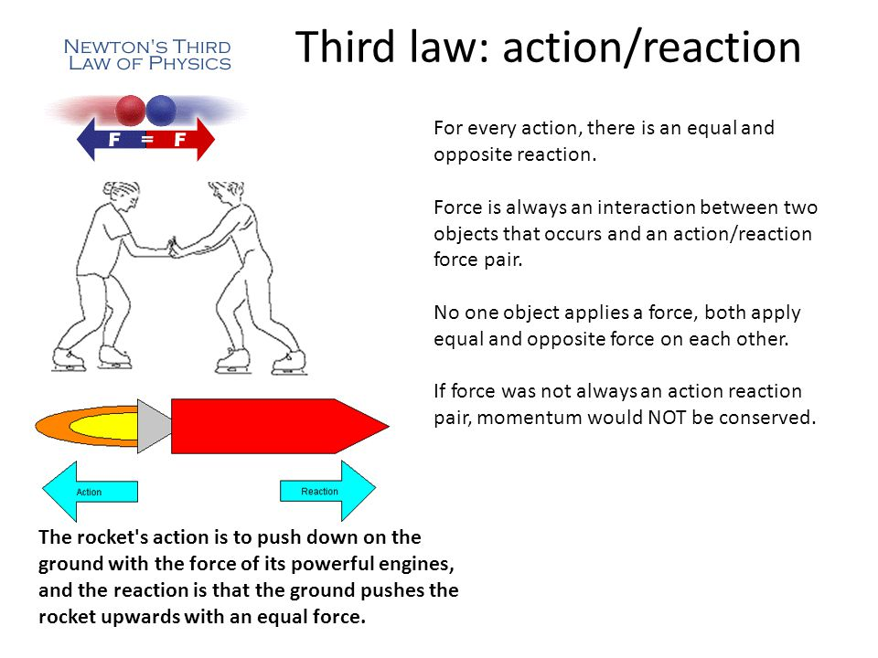 Third law: action/reaction For every action, there is an equal and opposite reaction.