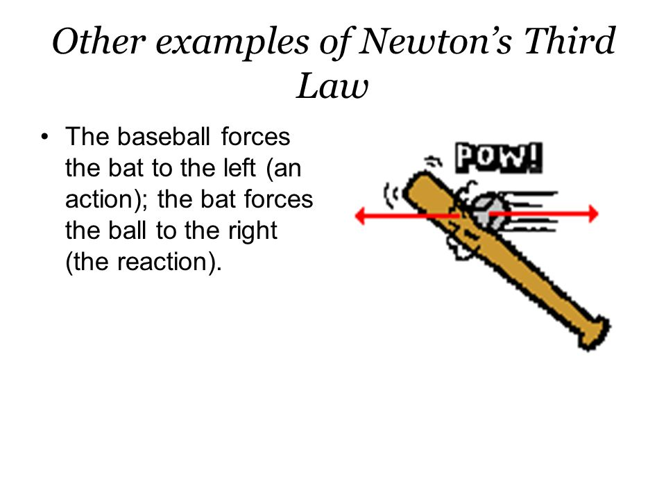 Other examples of Newton's Third Law The baseball forces the bat to the left (an action); the bat forces the ball to the right (the reaction).