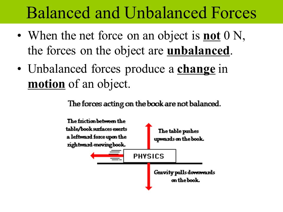 When the net force on an object is not 0 N, the forces on the object are unbalanced. Unbalanced forces produce a change in motion of an object. Balanc
