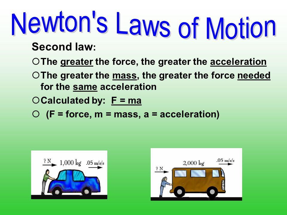 Second law : The greater the force applied to an object, the more the object will accelerate. It takes more force to accelerate an object with a lot o