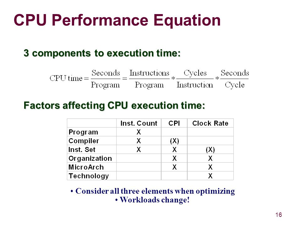 16 CPU Performance Equation 3 components to execution time: Factors affecting CPU execution time: Consider all three elements when optimizing Workloads change!