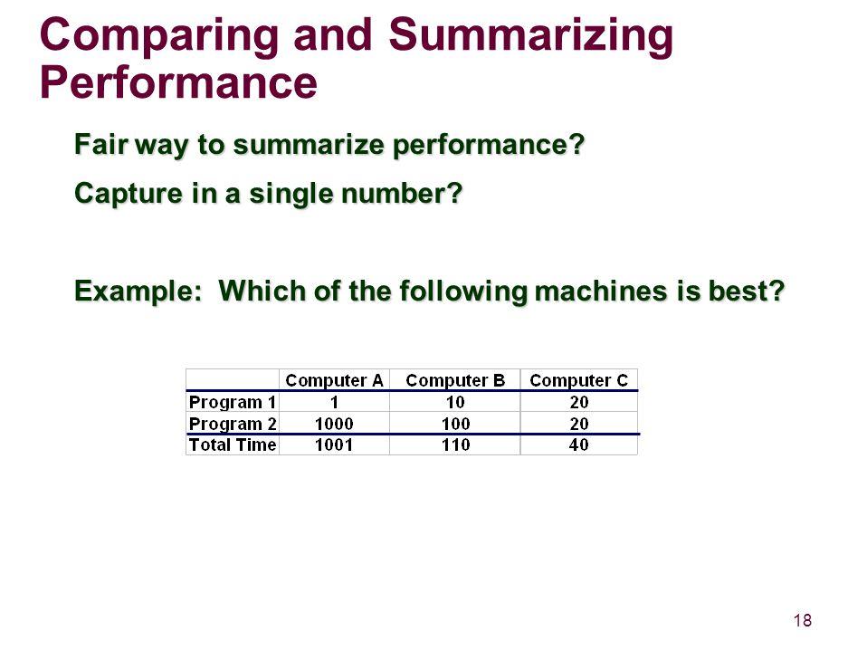18 Comparing and Summarizing Performance Fair way to summarize performance.