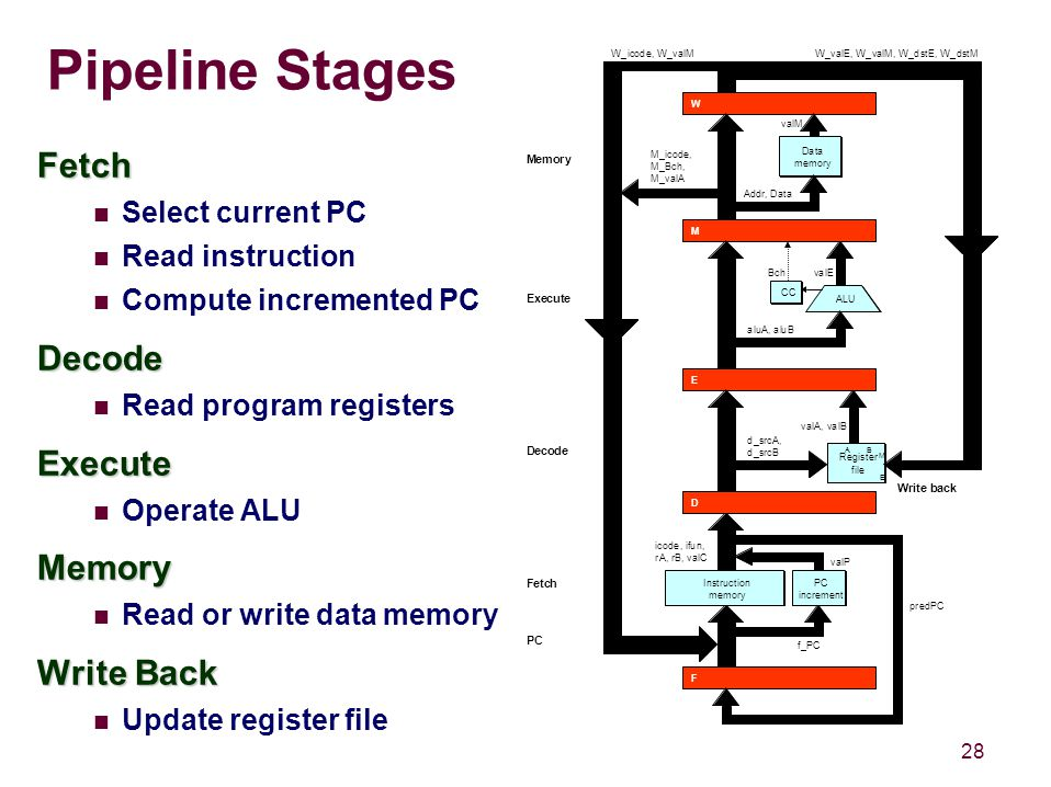 28 Pipeline Stages Fetch Select current PC Read instruction Compute incremented PCDecode Read program registersExecute Operate ALUMemory Read or write data memory Write Back Update register file