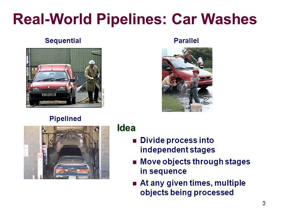 3 Real-World Pipelines: Car Washes Idea Divide process into independent stages Move objects through stages in sequence At any given times, multiple objects being processed SequentialParallel Pipelined