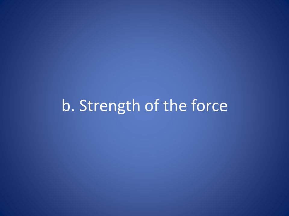 b. Strength of the force