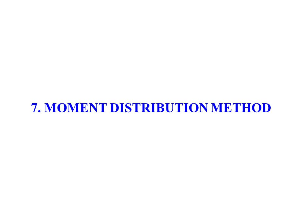 7. MOMENT DISTRIBUTION METHOD