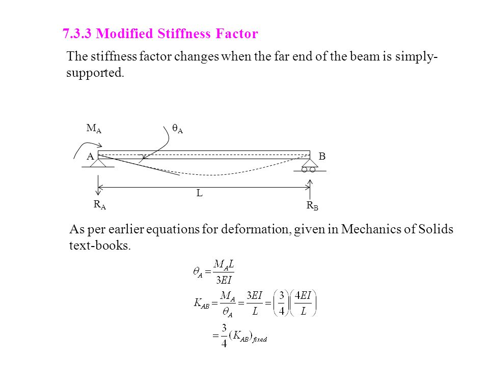7.3.3 Modified Stiffness Factor The stiffness factor changes when the far end of the beam is simply- supported.