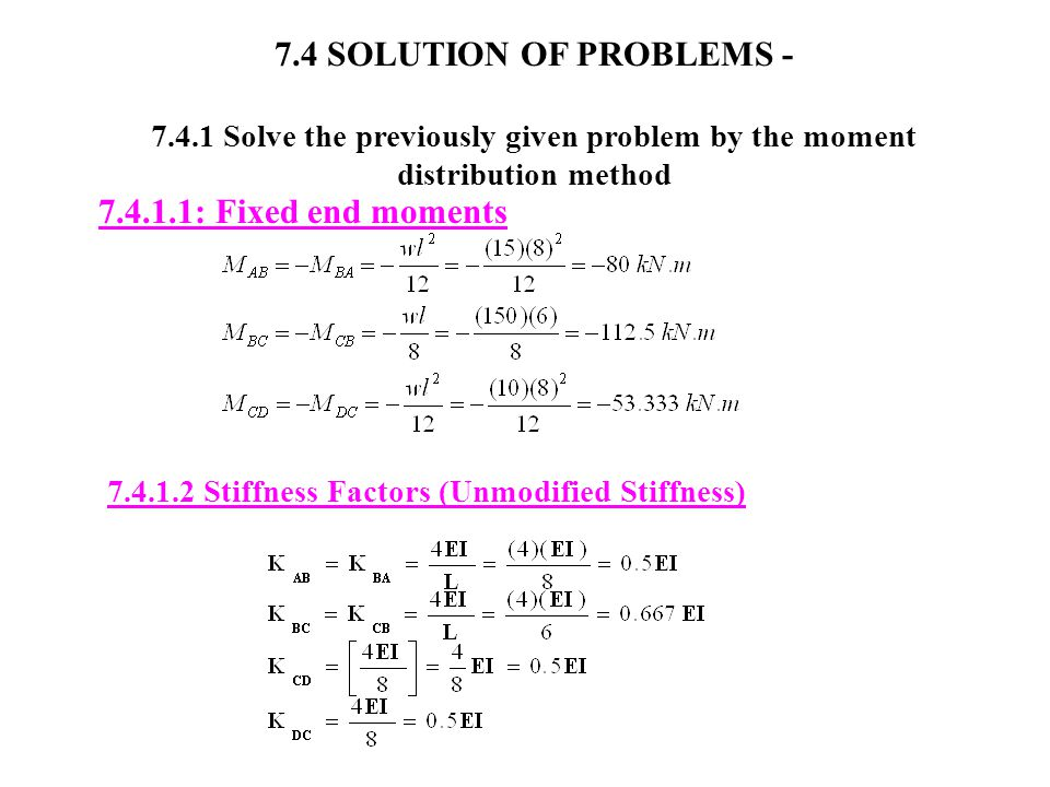 7.4 SOLUTION OF PROBLEMS - 7.4.1 Solve the previously given problem by the moment distribution method 7.4.1.1: Fixed end moments 7.4.1.2 Stiffness Factors (Unmodified Stiffness)