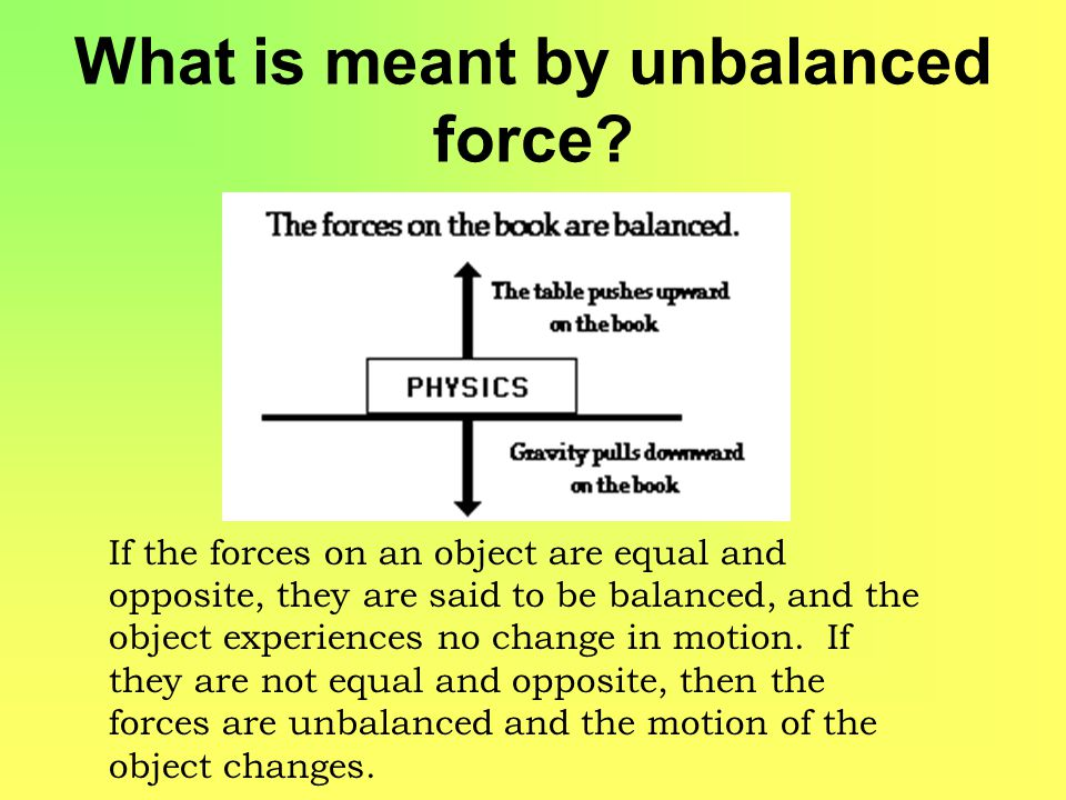 What is meant by unbalanced force.