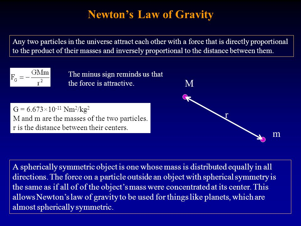 Newton's Law of Gravity Any two particles in the universe attract each other with a force that is directly proportional to the product of their masses