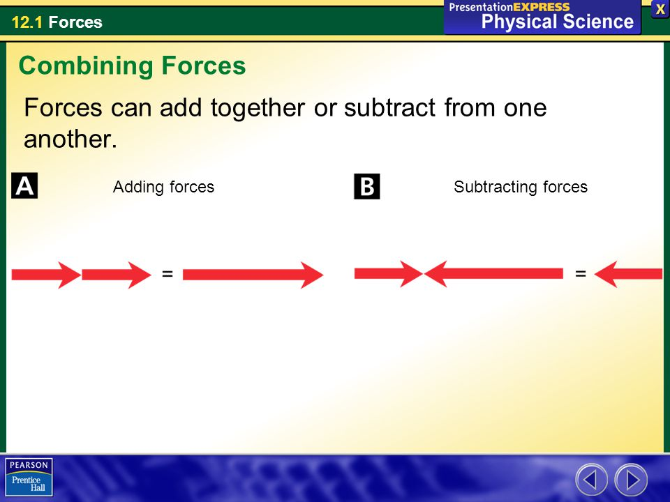 12.1 Forces Forces can add together or subtract from one another. Combining Forces Adding forcesSubtracting forces