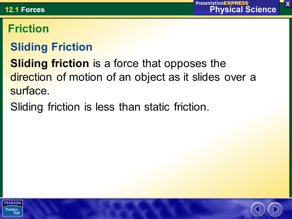 12.1 Forces Sliding Friction Sliding friction is a force that opposes the direction of motion of an object as it slides over a surface.