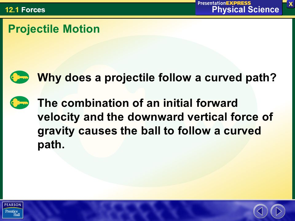 12.1 Forces Why does a projectile follow a curved path.