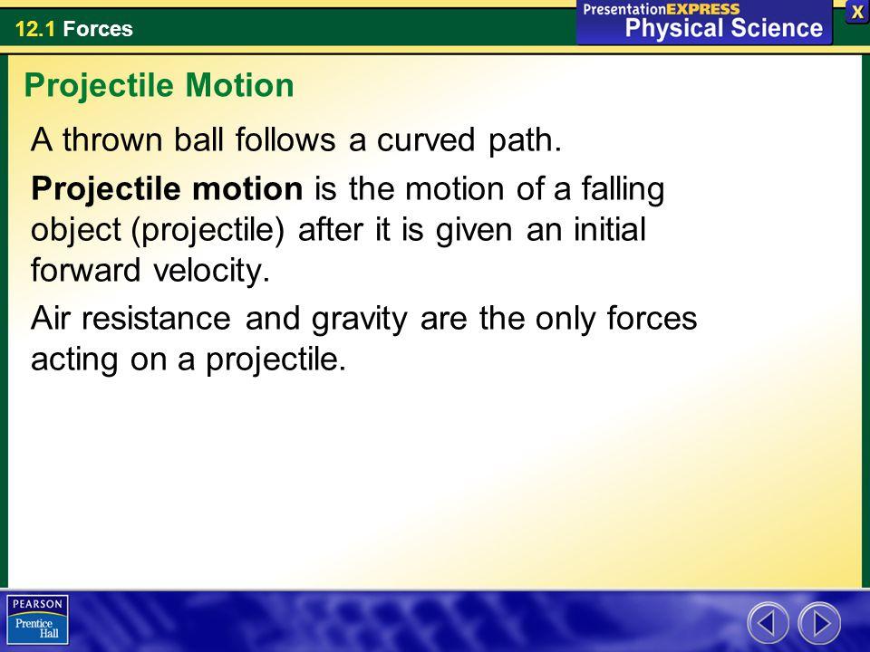 12.1 Forces A thrown ball follows a curved path.