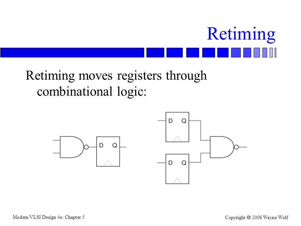 Modern VLSI Design 4e: Chapter 5 Copyright  2008 Wayne Wolf Retiming Retiming moves registers through combinational logic: